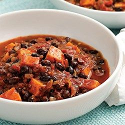 sweet potatoe chili in a bowl